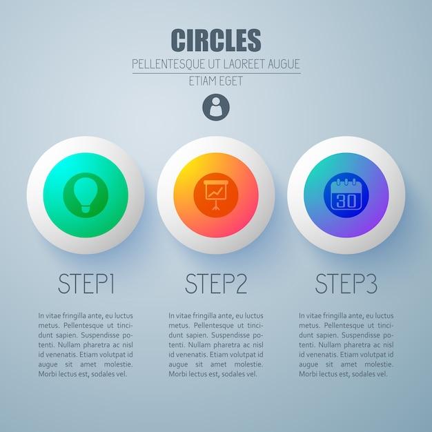 3つのオプションのカラフルな丸いボタンとアイコンでビジネスインフォグラフィックwebコンセプト 無料ベクター