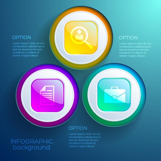 Бизнес инфографики концепция веб-дизайна с тремя вариантами красочные глянцевые кнопки и изолированные значки Бесплатные векторы