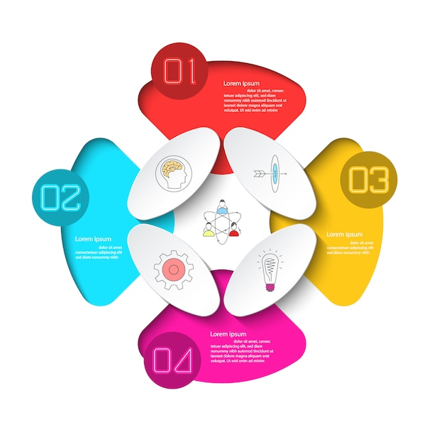 Business infographic with 4 steps. Premium Vector