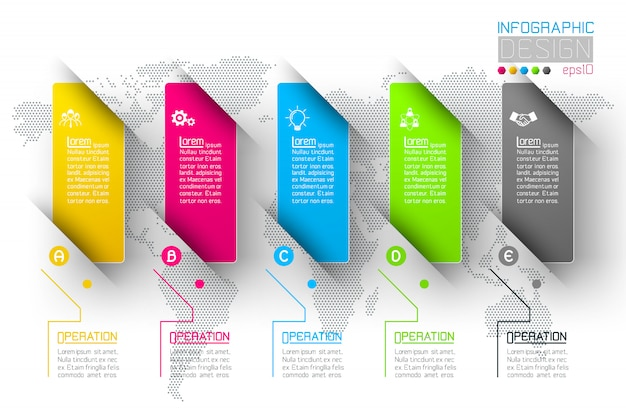 Business infographic with 5 steps. Premium Vector