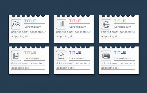 Бизнес инфографики с 6 вариантами данных на бумаге Premium векторы