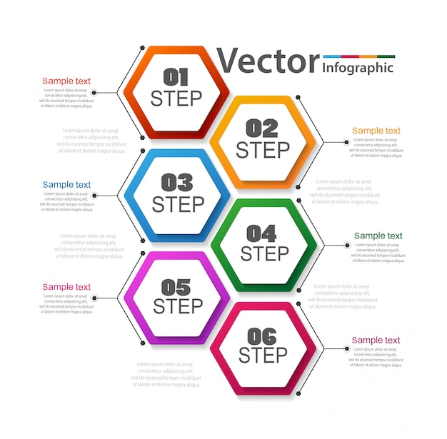 Business infographic with 6 steps Premium Vector