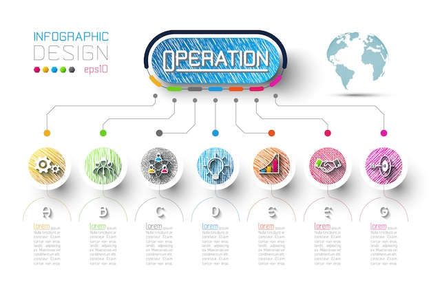 Business infographic with 7 steps. Premium Vector