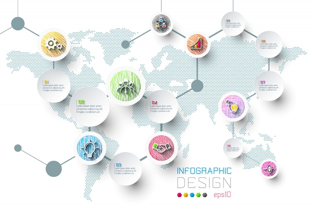 Business infographic with 8 steps. Premium Vector