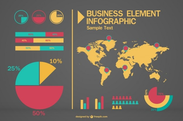 Business infographic with a world map and pie charts vector free business infographic with a world map and pie charts free vector gumiabroncs Gallery