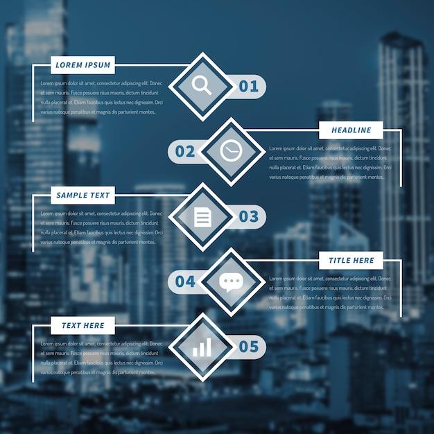 バックグラウンドで大都市とビジネスのインフォグラフィック 無料ベクター