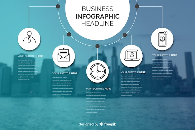 Business infographic with charts and city background Free Vector