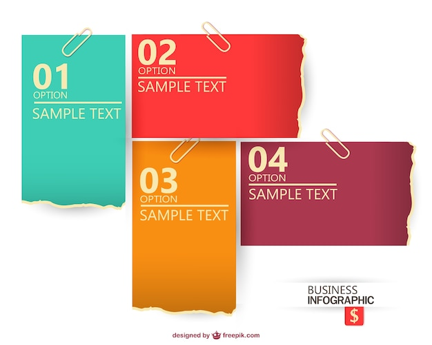 Business infographic with different sheets of paper Free Vector