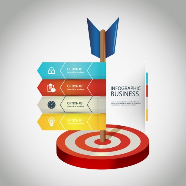 Business infographic with four options and a dartboard Free Vector