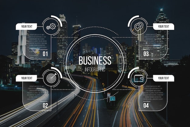 Business infographic with image template Free Vector