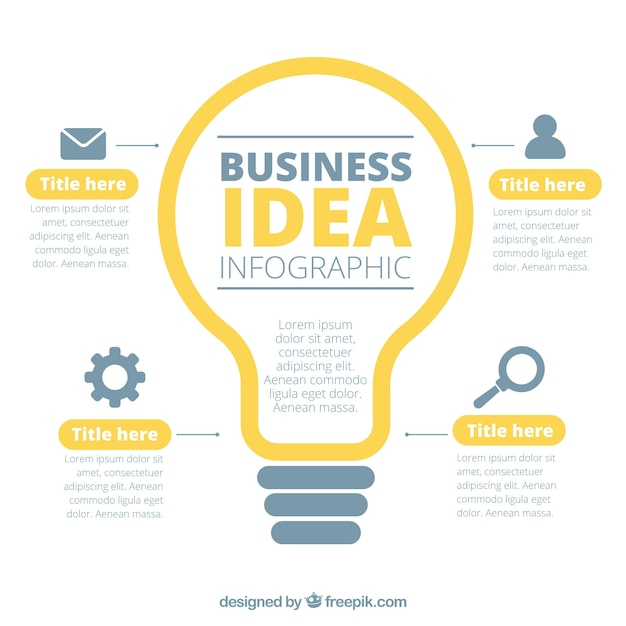 Business infographic with a lightbulb Free Vector