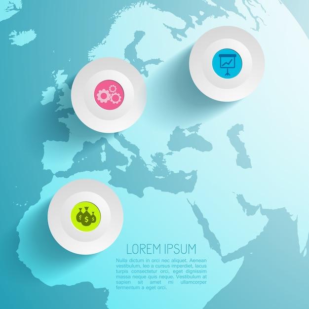 Бизнес-инфографика с картой Бесплатные векторы