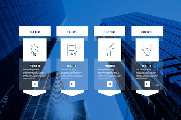 Business infographic with photo and details Free Vector