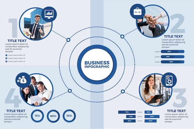 Business infographic with photo Premium Vector