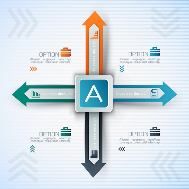 Business infographic with square and arrows in different directions Free Vector