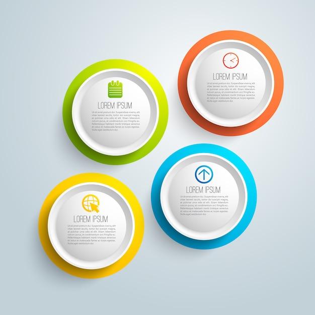 Infografica aziendale con campo di testo su cerchi colorati isolati Vettore gratuito