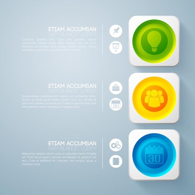 3 단계 비즈니스 인포 그래픽 무료 벡터