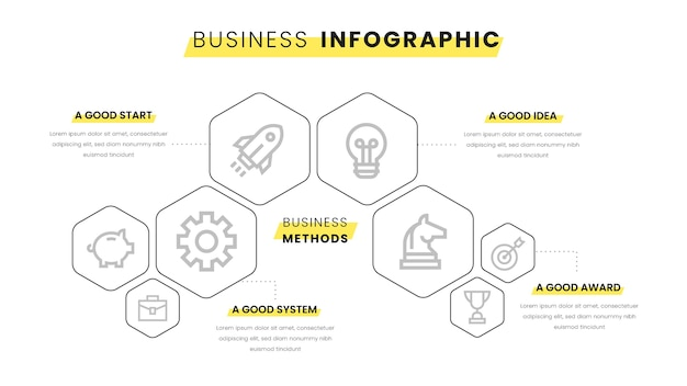 Business infographic with yellow elements Free Vector