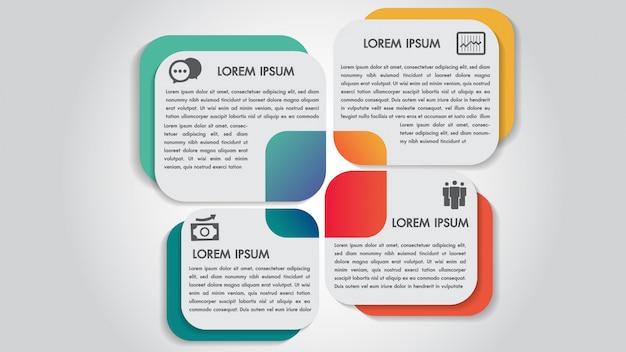 Business infographics 4 steps options design template. Premium Vector