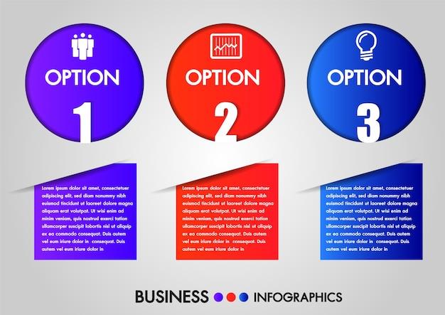 Business infographics circle 3 steps Premium Vector