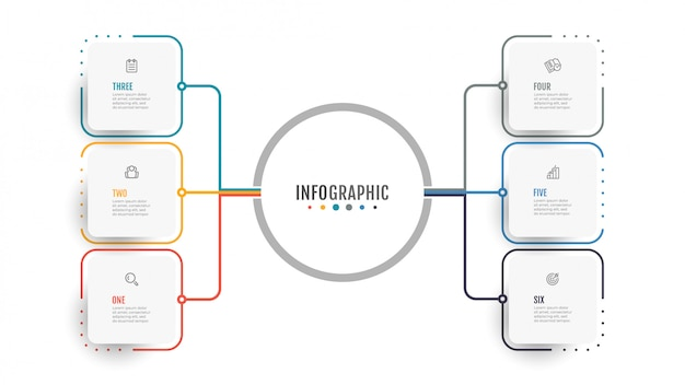 Business infographics. data visualization. creative concept for annual report with 6 options, steps.