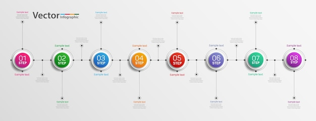 Ảnh eps ý tưởng thiết kế đồ họa thông tin kinh doanh với 8 bước hoặc tùy chọn Vector cao cấp