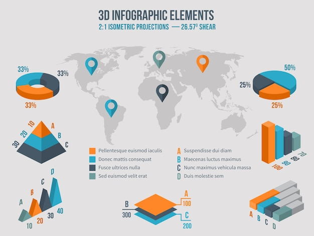 Business infographics elements. 3d charts and graphic and diagram on world map. vector illustration Free Vector