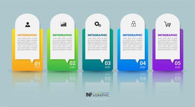 Business infographics five steps template. Premium Vector