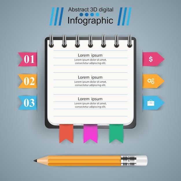 Business Infographics. Pencil icon. Premium Vector