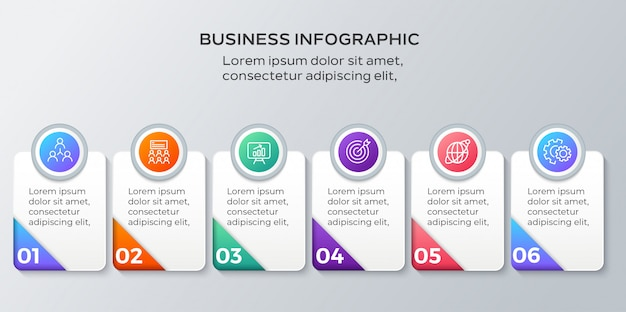 Business infographics six steps template Premium Vector