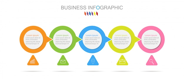 Business infographics template the concept 5 full color option Premium Vector