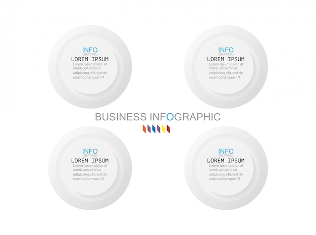 Business infographics template the concept is circle 4 option step with full color Premium Vector