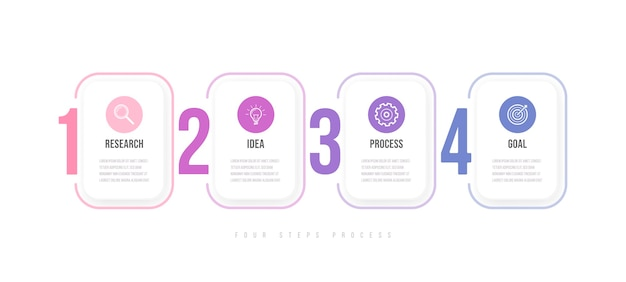 Business infographics template. timeline with 4 arrow steps, four number options. vector element Premium Vector