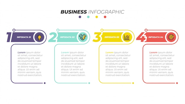 ビジネスインフォグラフィックテンプレート。 4つのステップ、オプションのあるタイムライン。ワークフロー図、情報チャート、webデザインに使用できます。ベクトルイラスト。 Premiumベクター