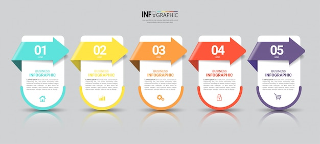 Business infographics template with five steps Premium Vector