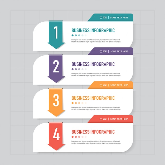 Business infographics template with four steps. Premium Vector