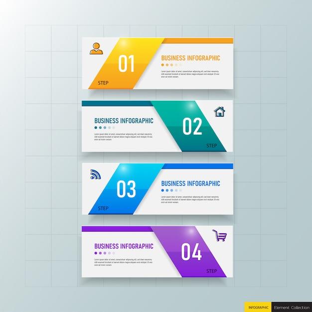 4つのステップを持つビジネスインフォグラフィックテンプレート Premiumベクター