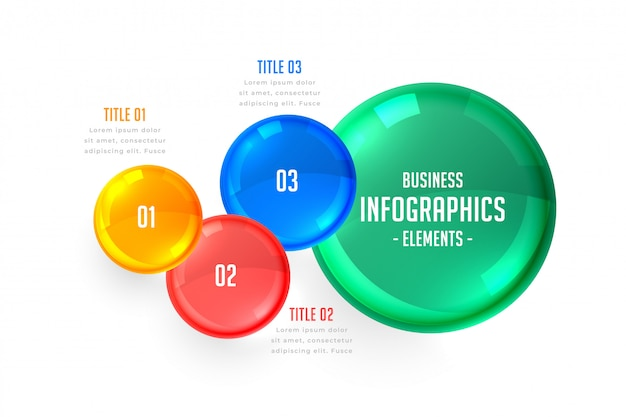 Business infographics three steps template Free Vector