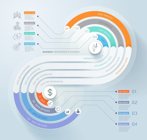 Business infographics timeline template background Premium Vector