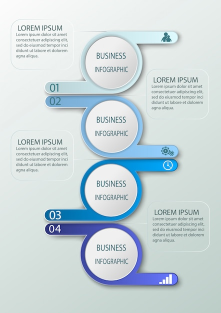 Business infographics with 4 steps, number options. Premium Vector