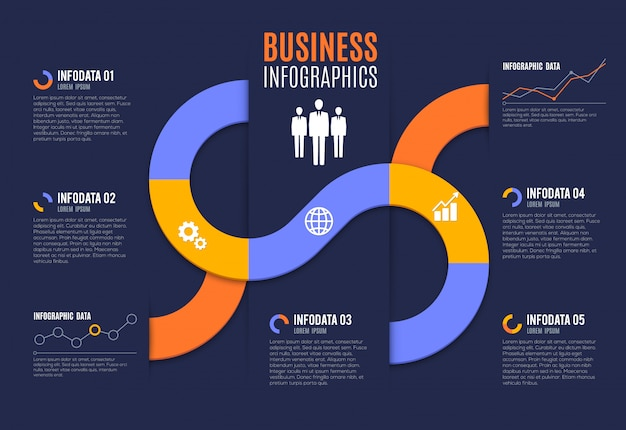 Business infographics with charts and graphs Premium Vector
