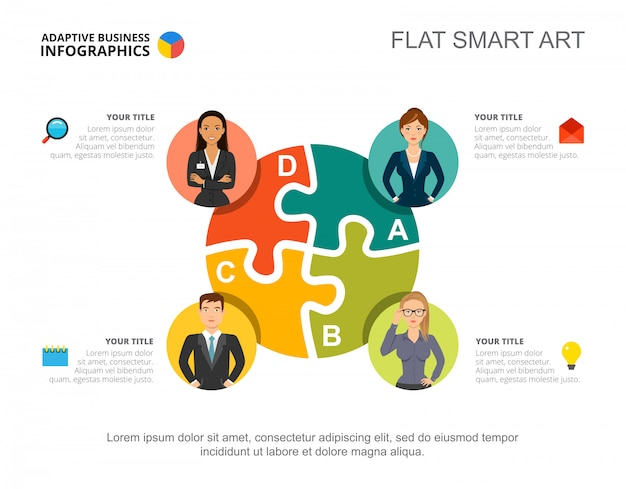 business infographics with jigsaw chart and team icons