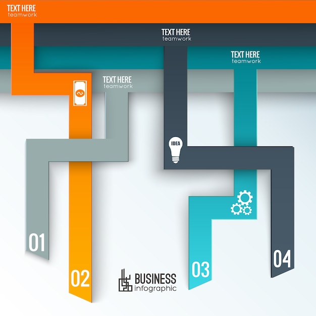 Infografica aziendale con schede numerate verticali Vettore gratuito