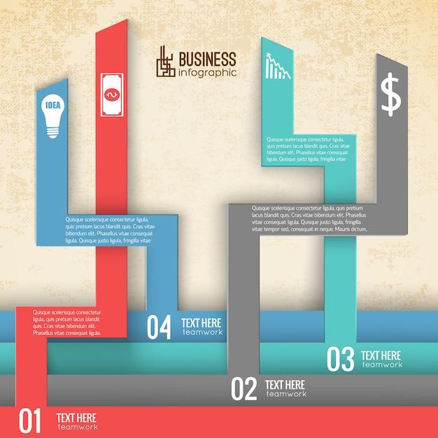 垂直番号のタブを持つビジネスインフォグラフィック 無料ベクター