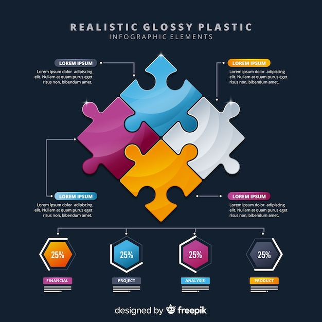 Business infogrealistic glossrealistic glossy plastic infographic elements Free Vector