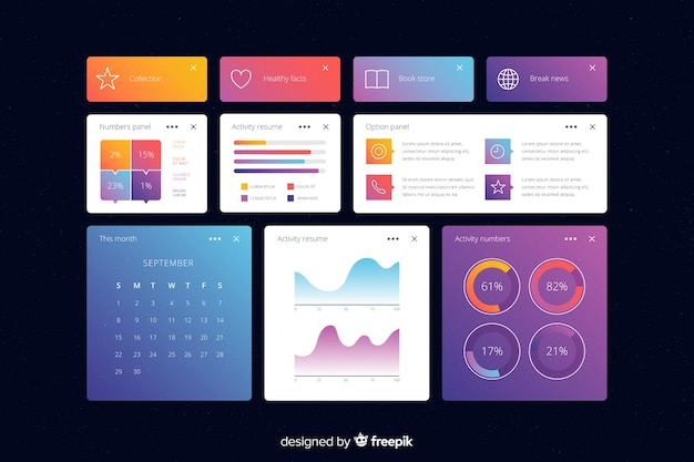 Business informational charts dashboard template Free Vector