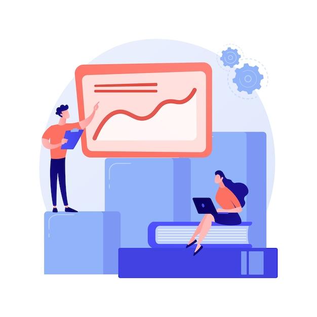 비즈니스 혁신 프레젠테이션. 분석 보고서, 통계 차트, forkflow. 성장하는 그래프에 서있는 분석가 및 팀 리더 만화 캐릭터 무료 벡터