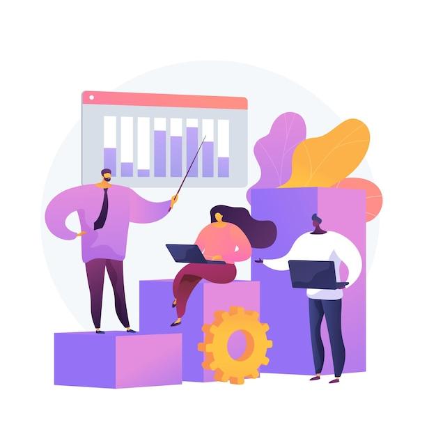 비즈니스 혁신 프레젠테이션. 분석 보고서, 통계 차트, forkflow. 분석가 및 팀 리더 만화 캐릭터가 성장하는 그래프에 서 있습니다. 무료 벡터