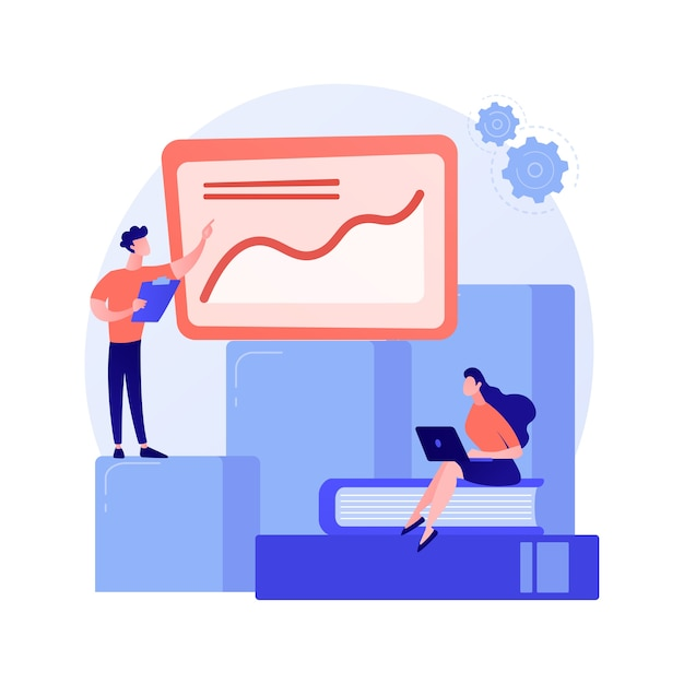 Business innovation presentation. analytics report, statistics chart, forkflow. analysts and team leader cartoon characters standing on growing graph Free Vector