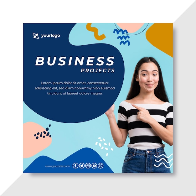 Business instagram post template Free Vector